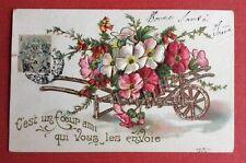 CPA. Brouette. Fleurs. Gaufrée. Embossed. Années 1900.