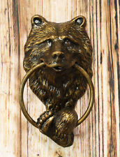 Rustic Western Forest Grizzly Bear Head With Foot And Paw Aluminum Door Knocker