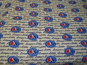 """Little League Baseball Logo Pre-Washed Cotton Fabric Remnant 44""""x 23"""""""