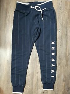 Ivy Park boyfriend fit pin striped joggers size Small blue and white