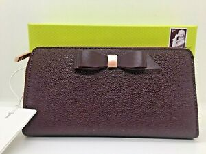 TED BAKER RRP£85 AINE Bow leather matinee purse burgundy red New with tags boxed