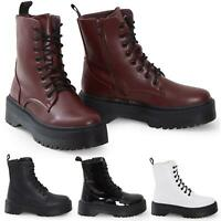 Womens HiTop Platform Military Punk Biker Ankle PU Leather Lace Up Vintage Boots