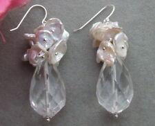KE061409 Keshi Pearl Crystal Earrings-925 Silver Hook