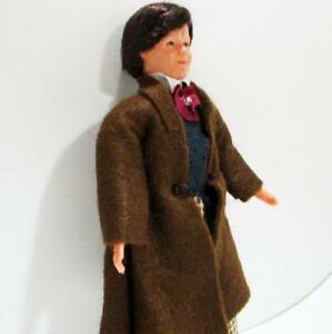 Dollhouse Dressed Victorian Man 1461 Caco Brn Frock Coat Tan Chk Pants Miniature