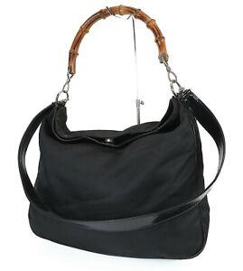Auth GUCCI Black Nylon Bamboo Handle 2-Way Tote Shoulder Hand Bag Purse #38367C