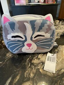 VERA BRADLEY ICONIC CAT COSMETIC BAG CAT'S MEOW FAUX LEATHER VINYL LINED ZIP NWT