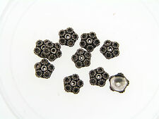 Sterling Silver 925 Bali Oxidized Applied Swirl Loops Bead Cap Beads Finding Lot