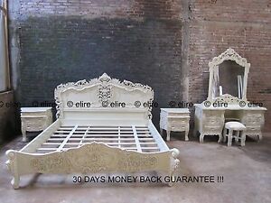 > BEDROOM SET < ANY SIZE SUPER KING Double White Black cream French ROCOCO bed