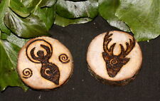 English Oak Horned God & Spiral Goddess Altar pieces or Amulets - Pagan, Wiccan