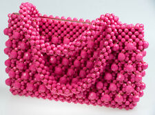 40s 'Hot Fuchsia Pink' Beaded Handbag with Double Handles and Cut Style Beadwork