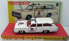 Lesney MATCHBOX Diecast KING SIZE K-23 MERCURY POLICE CAR & Custom Box Display C