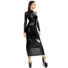 Womens Nightdress Wet Look Latex Leather Bodycon Ladies Clubwear Mini Dress