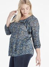 LUCKY BRAND WOMEN'S TOP NWT PLUS 3X RUFFLED FLORAL 3/4 SLEEVES BLOUSE BLUE MULTI
