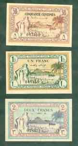 TRÈS JOLIS BILLETS DE 50 CTS 1 ET 2 FRANCS TUNISIE PICK 54 À 56