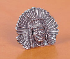 5PC 40*34MM VINTAGE SILVER INDIAN CHIEF HEAD TANDY LEATHERCRAFT CONCHO SCREWBACK