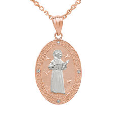 14k Two Tone Rose Gold Saint Francis Assisi Diamond Medium Oval Pendant Necklace