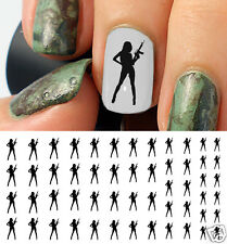 Girl With Machine Gun Nail Art Waterslide Decals - Salon Quality!