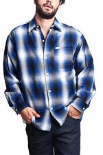Men's Western Casual Old School Plaid Flannel Long Sleeve Button Up Shirt Y2000