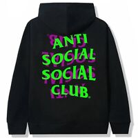DS Anti Social Social Club ASSC Purple Green logo Upset Black Hoodie  in hand