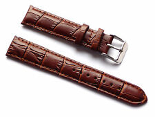 Replacement Quality Lug 18mm Brown Genuine Leather Alligator Strap Fits All
