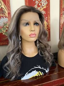 """Wig Authentic Brazilian Human Hair Swiss Lace Front 18"""" 150 Density"""