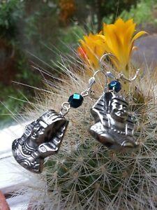 Egyptian Revival Tutankhamun EARRINGS Pharaoh silver-plated leverbacks - GIFTS!