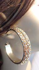 THICK HOOP EARRINGS 2 INCH HOOP EARRINGS GOLD OR SILVER TONE DESIGN HOOPS