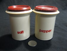 Vintage Off White Maroon Plastic Column Salt and Pepper Shakers            62