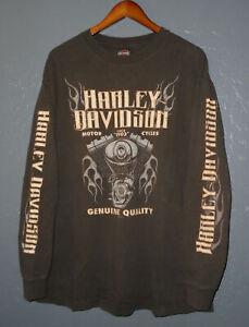 HARLEY DAVIDSON Motorcycle T-Shirt EL CAJON Vtg BROWN Biker L/S Mens XL
