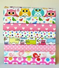 POLY COTTON FABRIC BUNDLE REMNANTS CRAFT SEWING HEART OWLS CATS STARS BUTTERFLY