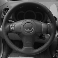 BANNIS Black Leather Steering Wheel Cover for Toyota Yaris Vios RAV4 2006-2009