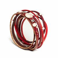 Wickelarmband Armband Sterne Stern Perlen Ketten Leder Riemen Magnet  Damen Neu