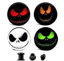 Pair- Creepy Smiley Face Ear Gauges Ear Plugs Flesh Tunnels - Choose Color