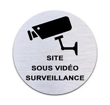 """Plaque de porte signalétique en aluminium brossé """"Site sous vidéo surveillance"""""""