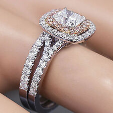 14K Solid White and Rose Gold Cushion Cut Diamond Engagement Ring And Band 1.90c