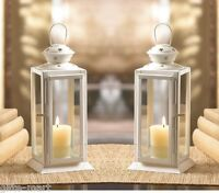 "2 WHITE country western 8"" Candle holder Lantern Lamp wedding table decoration"