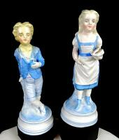 "FRENCH ANTIQUE PORCELAIN BLUE WHITE VICTORIAN GIRL AND BOY 9 1/4"" FIGURINES"