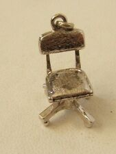 VINTAGE STERLING SILVER CHARM DESK CHAIR MOVEABLE BOTTOM