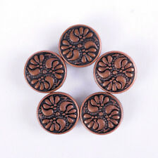 50PC 9MM Antique Copper Floral Engraved Conchos Handcraft Stud Rivet Tacks Decor