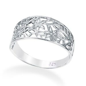 925 Solid  Sterling Silver Leaf Filigree  Ring  in Sizes G-Z/20 Different Sizes