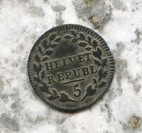 HELVETIAN REPUBLIC - BEAUTIFUL HISTORICAL BILLON 1/2 BATZEN, 1799, KM# A6