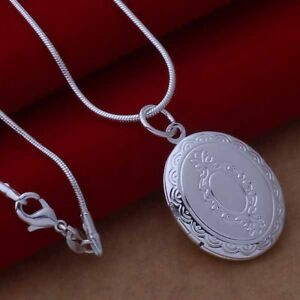 Silver Plated Oval Opening Locket & Snake Necklace.18 inch 46cm.925 Sterling
