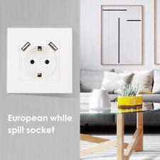 220-250V 16A 2-USB Port Wall Charger Power Adapter Socket Outlet Panel EU Plug