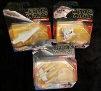 Hot Wheels Star Wars Disney SET OF 3 Starships Mattel Die-cast  w Flightstd 2018