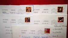 """5 timbres oblitérés sur lettre , thème """" nativité """" 2011"""