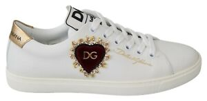 DOLCE & GABBANA Shoes White Leather Gold Red Heart Sneakers Womens EU38 / US7.5