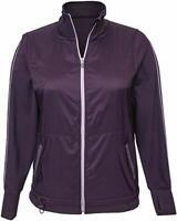 NWT Womens Tangerine  Active Stripe Exercise Jacket Full Zip Sz XL Plum