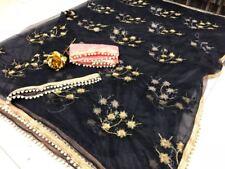 NW Multi Saree Sari Indian Bollywood Wedding Women Pakistani NET Embroidery TOP