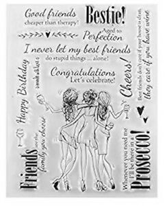 Clear stamps - PROSECCO and Bestie Friends - Lots of Funny sayings