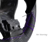 Per VW Eos 06-12 nero perforato in pelle Volante Copertura Viola Stitch